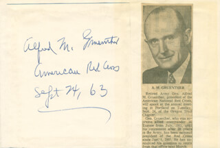 GENERAL ALFRED M. GRUENTHER - AUTOGRAPH 09/24/1963 CO-SIGNED BY: ARLENE GRYLE