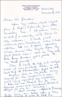 GENERAL ALFRED M. GRUENTHER - AUTOGRAPH LETTER SIGNED 11/25/1970