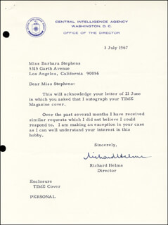 Autographs: RICHARD M. HELMS - TYPED LETTER SIGNED 07/03/1967