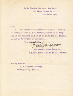 REAR ADMIRAL FRANCIS J. HIGGINSON - TYPED LETTER SIGNED 07/22/1902 CO-SIGNED BY: REAR ADMIRAL JOSEPH N. HEMPHILL, CHARLES W. LITTLEFIELD