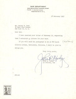 GENERAL JOHN R. HODGE - TYPED LETTER SIGNED 02/28/1947