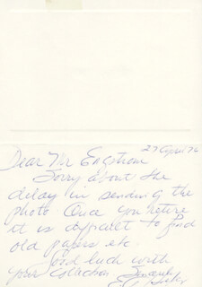 Autographs: BRIGADIER GENERAL ANN HOEFLY - AUTOGRAPH NOTE SIGNED 04/27/1976