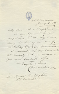 Autographs: BRIGADIER GENERAL CHARLES S. KING - AUTOGRAPH LETTER SIGNED 01/02/1900