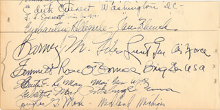 GENERAL CURTIS E. LEMAY - AUTOGRAPH CO-SIGNED BY: GENERAL FRANK F. EVEREST, GENERAL EMMETT ROSIE O'DONNELL JR., LT. GENERAL BARNEY McKINNEY GILES, EDITH EVEREST
