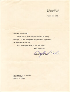 GENERAL DOUGLAS MACARTHUR - TYPED LETTER SIGNED 03/19/1953