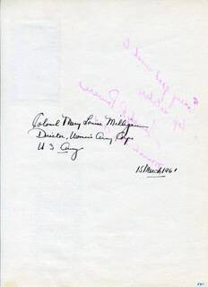 COLONEL MARY LOUISE MILLIGAN (RASMUSON) - AUTOGRAPH 03/15/1961 CO-SIGNED BY: DOROTHY ROCHON POWERS