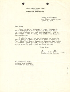 VICE ADMIRAL FREDERICK C. SHERMAN - TYPED LETTER SIGNED 04/05/1944