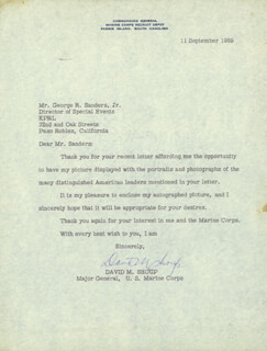 GENERAL DAVID M. SHOUP - TYPED LETTER SIGNED 09/11/1959