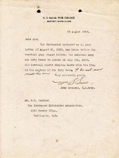 ADMIRAL WILLIAM S. SIMS - TYPED LETTER SIGNED 08/22/1919