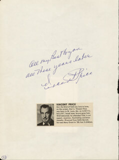 VINCENT PRICE - AUTOGRAPH SENTIMENT SIGNED CIRCA 1965 CO-SIGNED BY: LUTHER L. TERRY