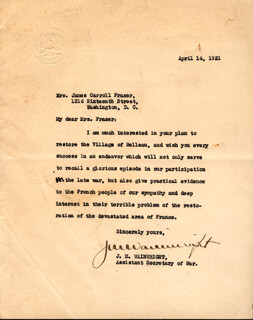 JONATHAN M. not the General WAINWRIGHT - TYPED LETTER SIGNED 04/14/1921