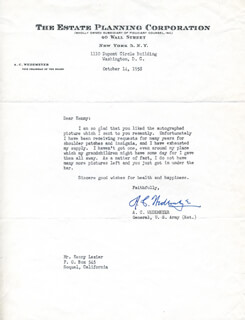 GENERAL ALBERT COADY WEDEMEYER - TYPED LETTER SIGNED 10/14/1958