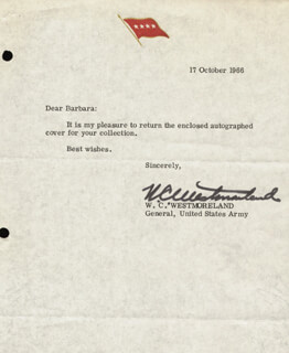 GENERAL WILLIAM C. WESTMORELAND - TYPED LETTER SIGNED 10/07/1966