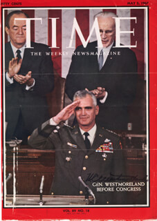 Autographs: GENERAL WILLIAM C. WESTMORELAND - MAGAZINE COVER SIGNED