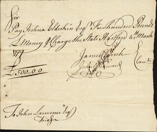 SAMUEL WYLLYS - MANUSCRIPT DOCUMENT SIGNED 03/04/1779 CO-SIGNED BY: JOHN CHENWARD, JAMES CHURCH