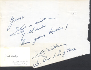JACK WOOLLEY - AUTOGRAPH NOTE SIGNED