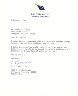 ADMIRAL ELMO R. ZUMWALT JR. - TYPED LETTER SIGNED 12/01/1980