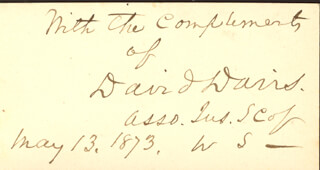 Autographs: ASSOCIATE JUSTICE DAVID D. DAVIS - AUTOGRAPH SENTIMENT SIGNED 05/13/1873