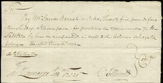 Autographs: CHIEF JUSTICE OLIVER ELLSWORTH - AUTOGRAPH DOCUMENT SIGNED 06/06/1776 CO-SIGNED BY: JOSIAH SPATSING