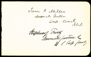 ASSOCIATE JUSTICE STEPHEN J. FIELD - AUTOGRAPH CO-SIGNED BY: ASSOCIATE JUSTICE WILLIAM STRONG, ASSOCIATE JUSTICE SAMUEL F. MILLER