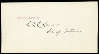 ASSOCIATE JUSTICE LUCIUS Q. C. LAMAR - AUTOGRAPH CO-SIGNED BY: WILLIAM F. VILAS