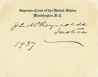 Autographs: ASSOCIATE JUSTICE JAMES C. MCREYNOLDS - SUPREME COURT CARD SIGNED 1937