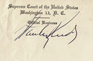 ASSOCIATE JUSTICE STANLEY F. REED - AUTOGRAPH