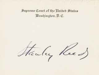 ASSOCIATE JUSTICE STANLEY F. REED - SUPREME COURT CARD SIGNED