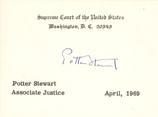 Autographs: ASSOCIATE JUSTICE POTTER STEWART - SUPREME COURT CARD SIGNED 4/1969