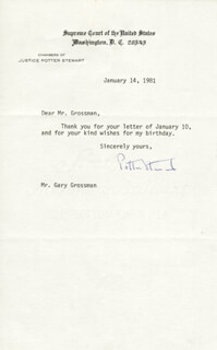 ASSOCIATE JUSTICE POTTER STEWART - TYPED NOTE SIGNED 01/14/1981