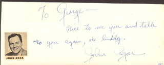 JOHN AGAR - AUTOGRAPH NOTE SIGNED  - HFSID 24575