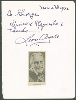 LEON AMES - AUTOGRAPH NOTE SIGNED 11/06/1972