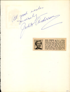 DAME JUDITH ANDERSON - AUTOGRAPH SENTIMENT SIGNED CO-SIGNED BY: GLORIA DEHAVEN