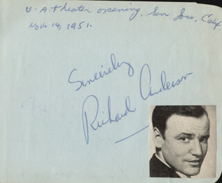 RICHARD ANDERSON - AUTOGRAPH CIRCA 1951 CO-SIGNED BY: ALICE KELLEY