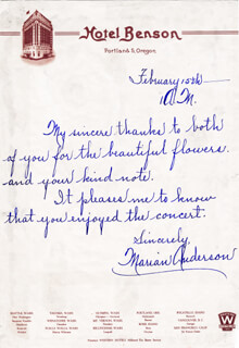 MARIAN ANDERSON - AUTOGRAPH LETTER SIGNED 2/15
