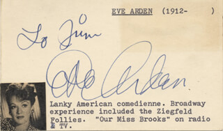 EVE ARDEN - INSCRIBED SIGNATURE