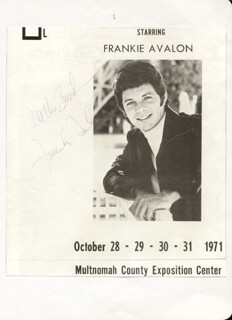FRANKIE AVALON - MAGAZINE ADVERTISEMENT SIGNED CIRCA 1971