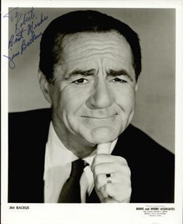 JIM BACKUS - AUTOGRAPHED INSCRIBED PHOTOGRAPH