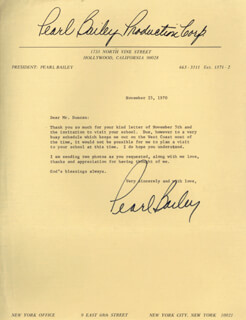 PEARL BAILEY - TYPED LETTER SIGNED 11/25/1970