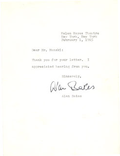 SIR ALAN BATES - TYPED NOTE SIGNED 02/01/1965
