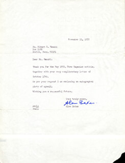 SIR ALAN BATES - TYPED LETTER SIGNED 11/14/1972