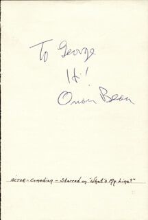 ORSON BEAN - AUTOGRAPH NOTE SIGNED