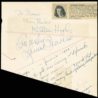 KATHLEEN HUGHES - AUTOGRAPH NOTE SIGNED CO-SIGNED BY: BUDDY (JACOB H.) BAER, LOUISE BEAVERS