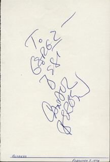 CANDICE BERGEN - AUTOGRAPH NOTE SIGNED 02/07/1978