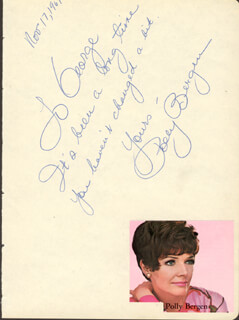 Autographs: POLLY BERGEN - AUTOGRAPH NOTE SIGNED 11/17/1967