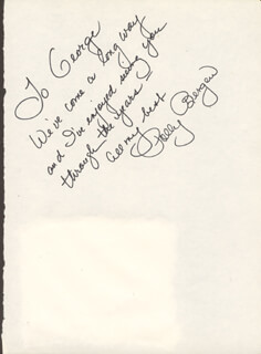 POLLY BERGEN - AUTOGRAPH NOTE SIGNED