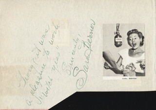 SARA BERNER - AUTOGRAPH NOTE SIGNED CO-SIGNED BY: CAROLINA COTTON, SONNY TUFTS