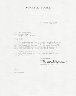 Autographs: SORRELL BOOKE - TYPED LETTER SIGNED 12/15/1980