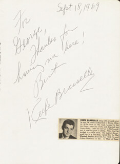 KEEFE BRASSELLE - AUTOGRAPH NOTE SIGNED 09/18/1969