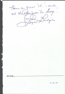 LLOYD BRIDGES - AUTOGRAPH NOTE SIGNED 1978